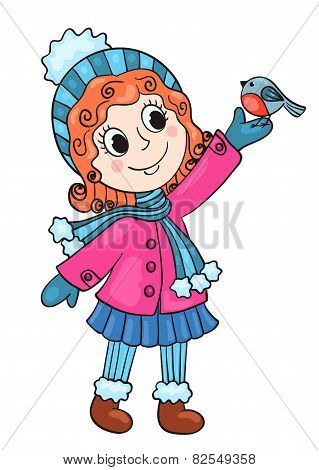 The Happy Girl In Winter Clothes With Bird