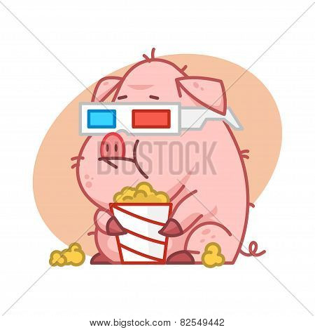 Pig character in 3d glasses eating popcorn