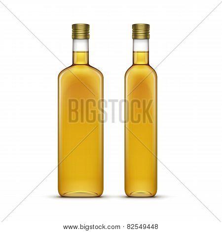 Vector Set of Olive or Sunflower Oil Glass Bottles