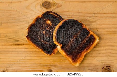 toast was burnt during toasting. burnt toast at breakfast.