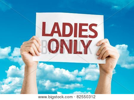 Ladies Only card with sky background