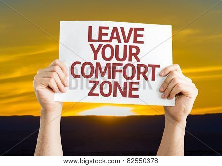 Leave Your Comfort Zone card with sunset background