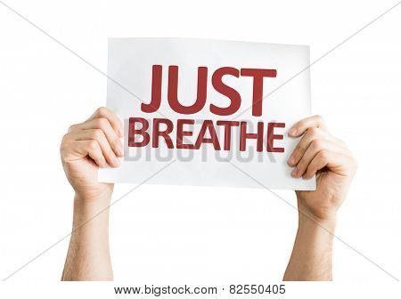 Just Breathe card isolated on white background