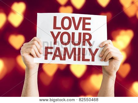 Love Your Family card with heart bokeh background