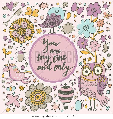 You are my one and only - stylish romantic card made of flowers, air balloon, birds, bugs, horses and hearts in bright colors in vector. Awesome forest concept background for romantic design