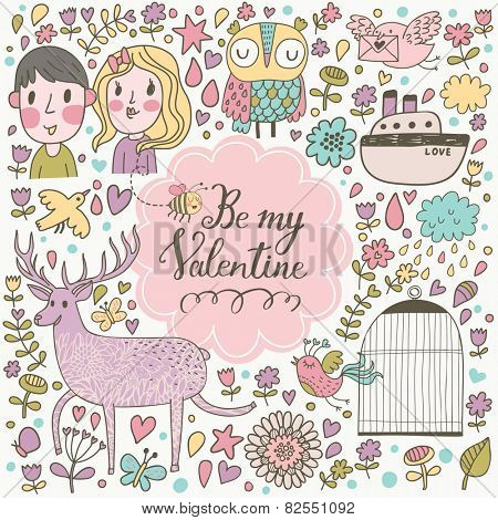 Be my Valentine - stylish romantic card made of flowers, couple of lover, ship, owl, deer, birds, stars and hearts in bright colors in vector. Awesome concept background for romantic design