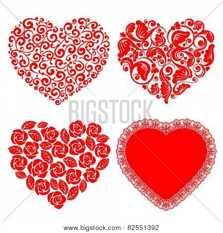 Vector set of hearts. Beautiful design element for Valentines day.