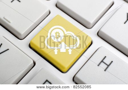 Golden bitcoin to cloud enter key on keyboard