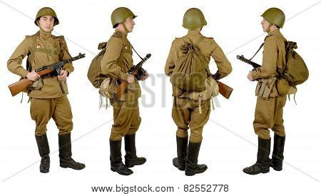 Soviet Soldier In Wwii, Front, Profile And Back