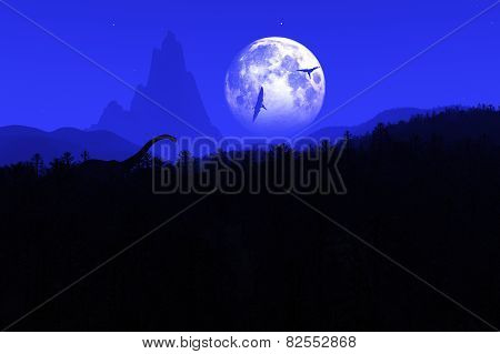 Prehistoric Jungle at Night in the Moonlight