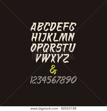 Vector calligraphic alphabet and numbers in indian style.