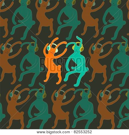 Cute dancing rabbits in cartoon style. Vector illustration.
