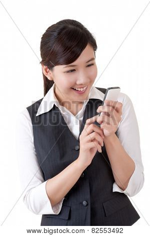 Smiling, closeup portrait of Asian business woman with cellphone on studio white background.