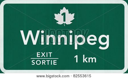 Winnipeg Canada Transcanada Highway Road Sign