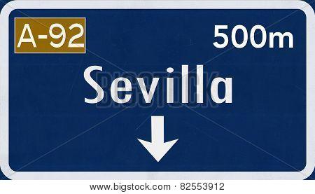 Sevilla Spain Highway Road Sign