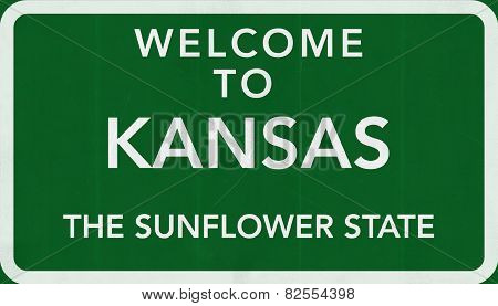Kansas USA Welcome to Highway Road Sign