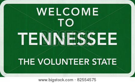 Tennessee USA Welcome to Highway Road Sign