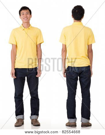 Full length portrait of young Chinese man in studio white background.