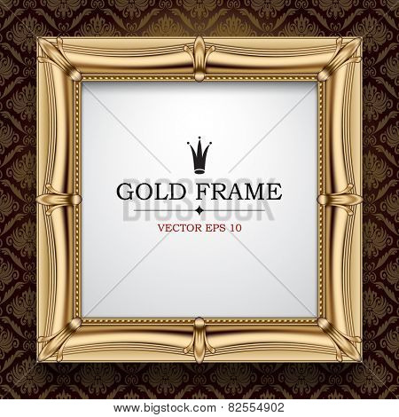 Classic gold frame on vintage background. Vector Illustration