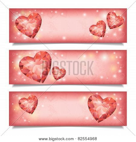 Set Of Horizontal  Banners With Diamond Hearts