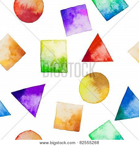 Seamless Background With Watercolor Geometric Shapes