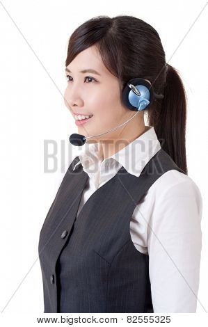 Hotline, closeup portrait of Asian business woman on studio white background.