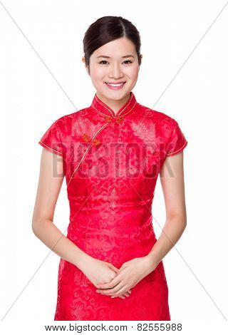 Chinese woman with cheongsam for chinese new year
