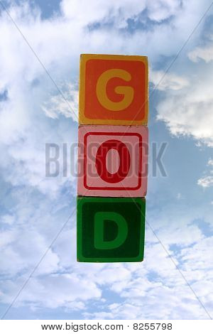 Play Blocks That Spell God In Sky With Clipping Path