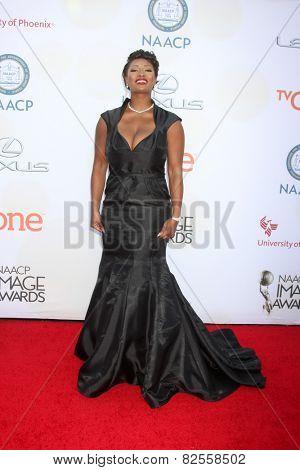 LOS ANGELES - FEB 6:  Toccara Jones at the 46th NAACP Image Awards Arrivals at a Pasadena Convention Center on February 6, 2015 in Pasadena, CA