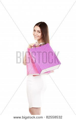 Beautiful Smiling Girl Carrying Colorful Shopping Bags