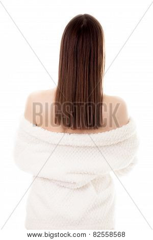 Sexy Young Female Taking Off White Bathrobe, Back View