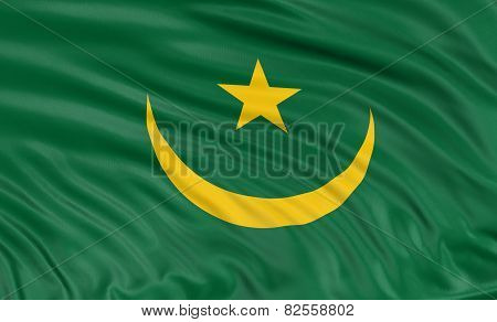3D flag of Mauritania