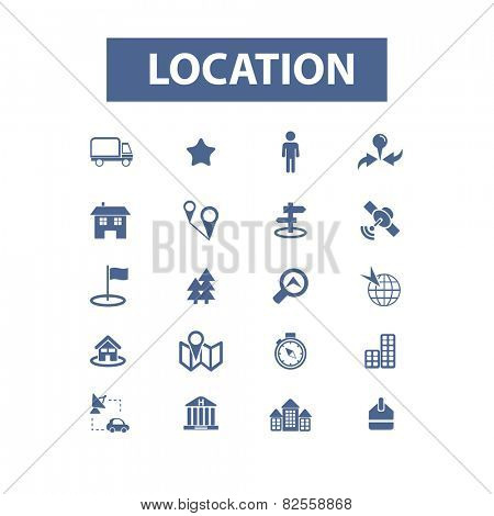 location, map, navigation, pin, marker, road, route, trip isolated design flat icons, signs, illustrations vector set on background