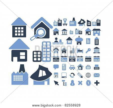 buildings, houses, real estate isolated design flat icons, signs, illustrations vector set on background