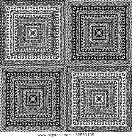 Vector Seamless Square Ethnic Patterns
