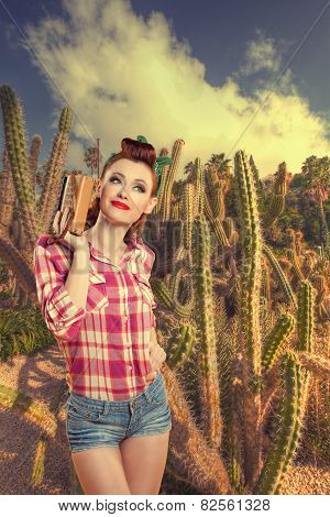 Pin-up Girl In Cacti. Retro Style