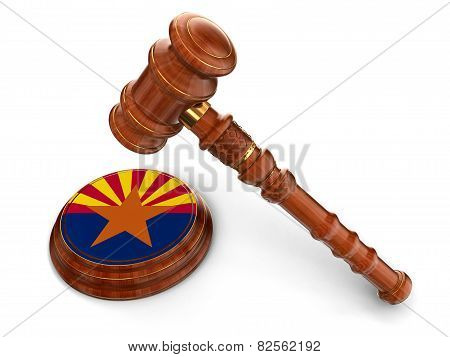 Wooden Mallet and flag Of Arizona (clipping path included)