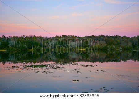 Wetlands lake at sunset