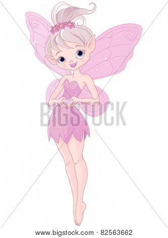 Illustration of cute pink Pixy fairy