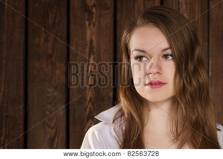 Portrait Of A Girl On Wooden Wall