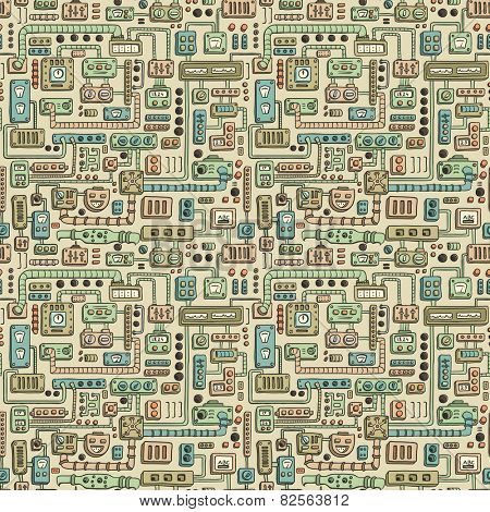 Seamless pattern with some kind of electrical appliances in color