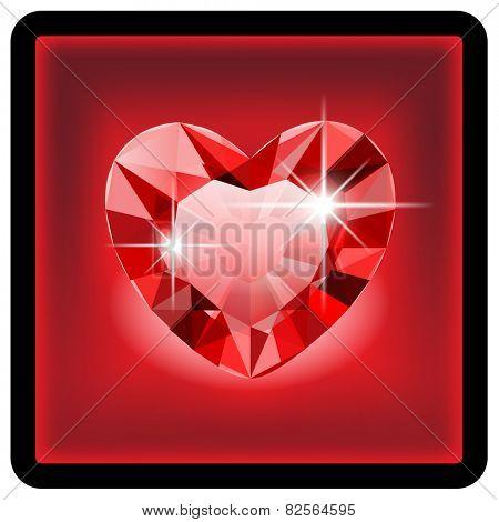Diamond Heart for Valentine, in box. Icon. Illustration.