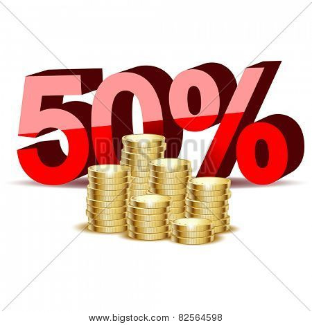 Illustration of gold coins and percentage on a white background.