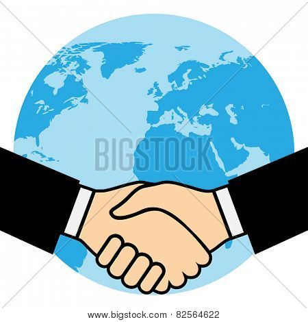 Handshake of business partners, against the background of the Earth. Illustration