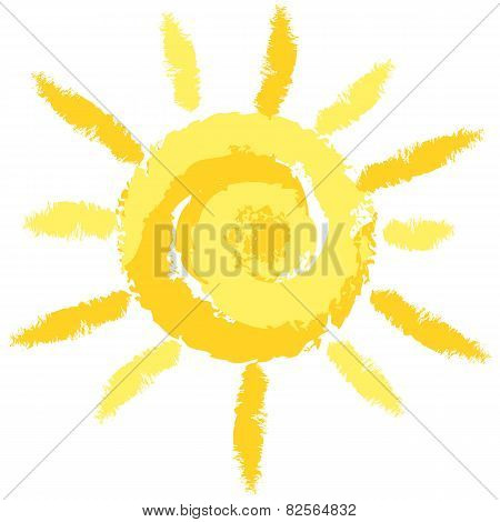 Isolated Cute Crayon Sun, Vector Image