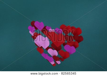Love hearts against teal