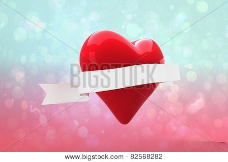 Heart with scroll against blue and pink light spot design