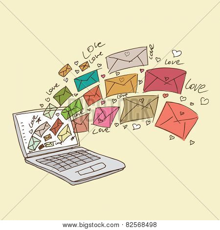 illustration of love letters