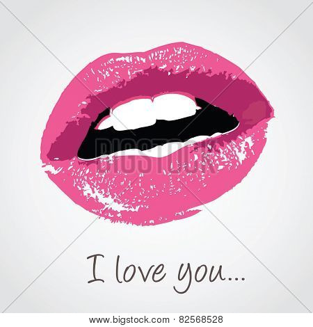vector pink lips with love message
