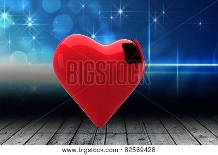 Heart with open door against shimmering light design over boards